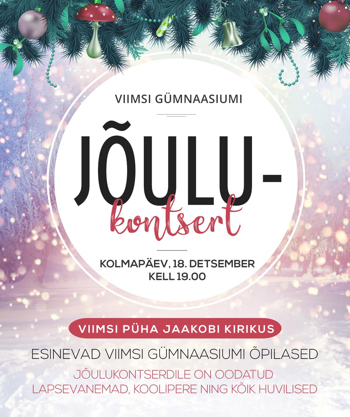Jõulukontsert 18.detsember kl 19.00