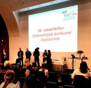 Kasper Sebastian Sillale (G1) eripreemia õpilasetlejate riigikonkursilt Tartus